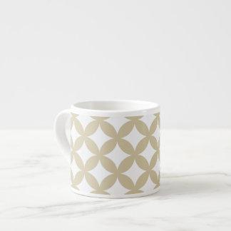 Bronze and White Geocircle Design Espresso Cup