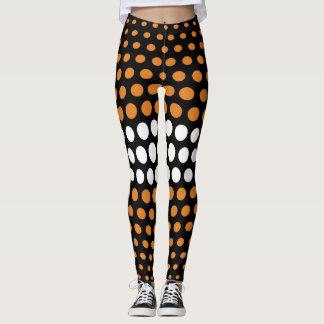 Bronze and White Polka Dot Pattern Leggings