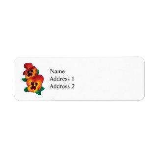 Bronze and Yellow Pansies Return Address Label