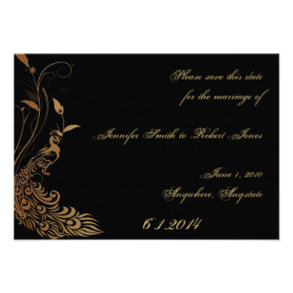 Bronze Art Deco Peacock and Floral Save the Date Invites