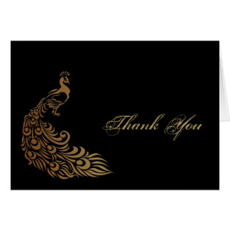 Bronze Art Deco Peacock and Floral Thank You Stationery Note Card