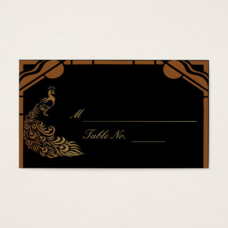 Bronze Art Deco Peacock and Floral Weddi PlaceCard Business Card
