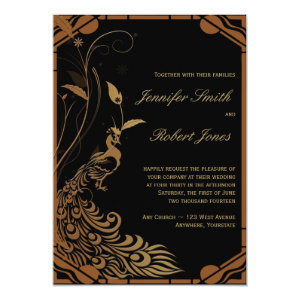 Bronze Art Deco Peacock and Floral Wedding 5x7 Paper Invitation Card