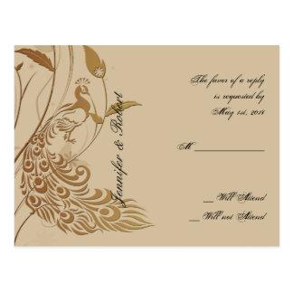 Bronze Art Deco Peacock Floral RSVP Postcard v2