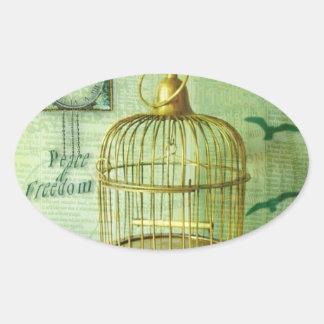 Bronze Birdcage Oval Sticker