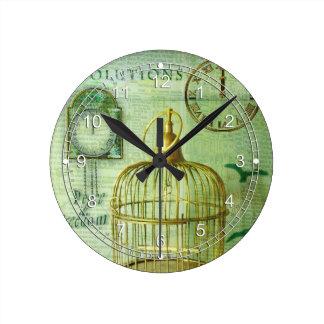 Bronze Birdcage Round Clock