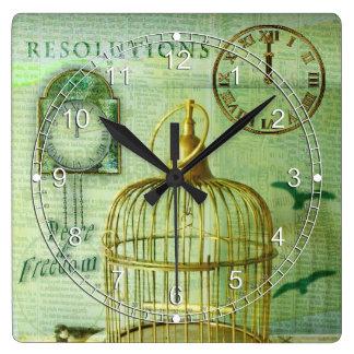 Bronze Birdcage Square Wall Clock