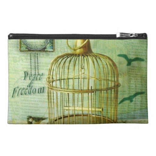 Bronze Birdcage Travel Accessory Bag