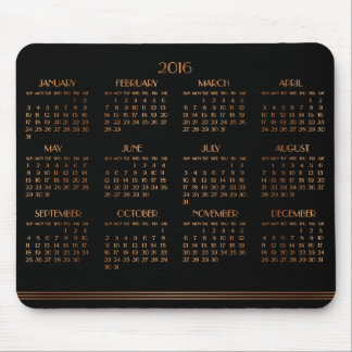 Bronze Black Art Deco Calendar 2016 Mouse Pad