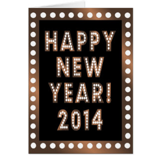 Bronze & Black Happy New Year 2014 Greeting Cards