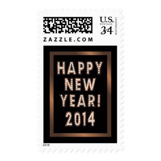 Bronze & Black Happy New Year 2014 Postage Stamps