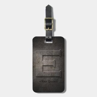 Bronze Black Metal E Monogram Luggage Tag