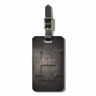 Bronze Black Metal H Monogram Travel Luggage Tag