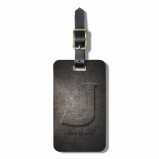 Bronze Black Metal J Monogram Luggage Tag