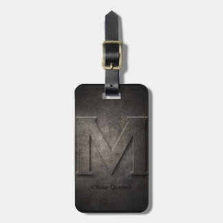 Bronze Black Metal M Monogram Travel Luggage Tag