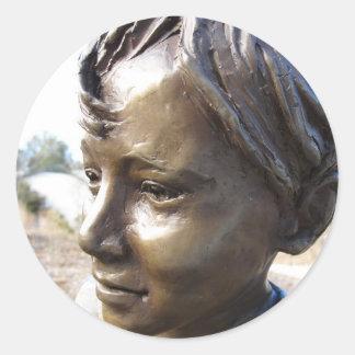 Bronze Boy Round Sticker