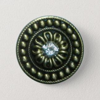Bronze brooch with gem pinback button