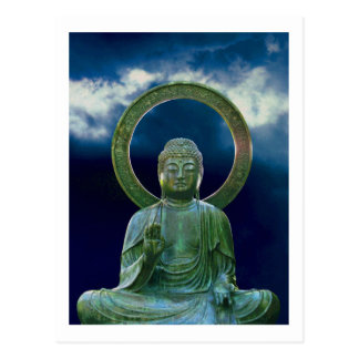 Bronze Buddha photo painting postcard