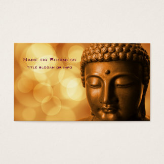 Bronze Buddha Statue with Golden Bokeh Background Business Card