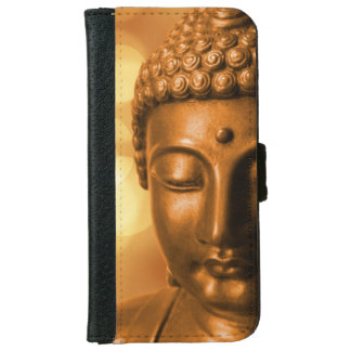 Bronze Buddha Statue with Golden Bokeh Background iPhone 6/6s Wallet Case