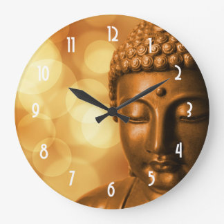 Bronze Buddha Statue with Golden Bokeh Background Large Clock