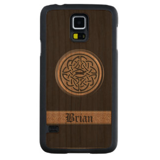 Bronze Celtic Knot Personalized Wood Galaxy Case Carved® Cherry Galaxy S5 Slim Case