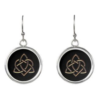 Bronze Celtic Trinity Heart Knot Earrings