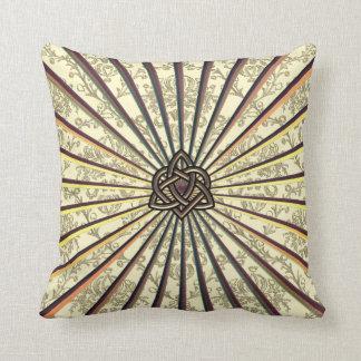Bronze Celtic Trinity Heart Knot on Cream Damask Throw Pillow