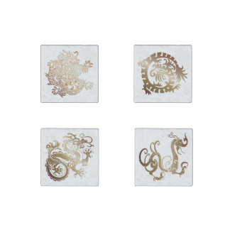 Bronze Chinese Dragons Set - 4 Magnets 1