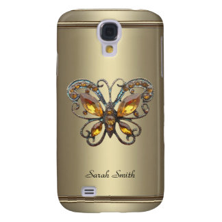 Bronze Chrome Pern Butterfly jewel Samsung Galaxy S4 Cover