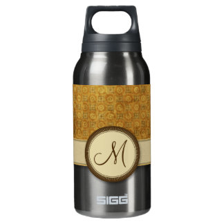 Bronze Coin Pattern with Monogram Insulated Water Bottle