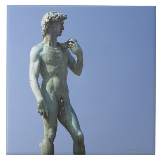 bronze copy of Michelangelo's statue of David in Tile