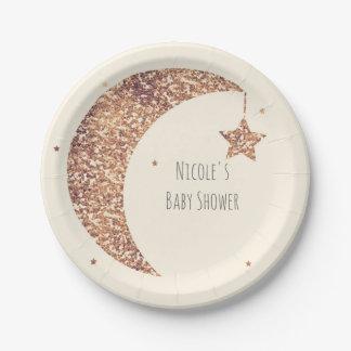 Bronze Cream Moon & Stars Baby Shower Paper Plate