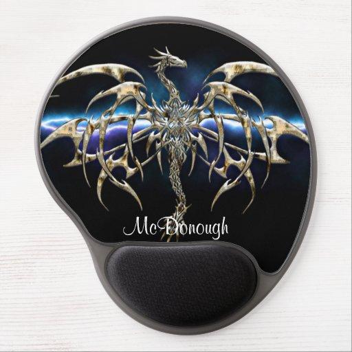 Bronze Dragon on Lightning Sky Gel Mousepads