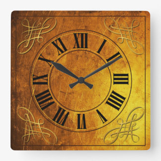 Bronze Effect Faced Clock With Roman Numerals