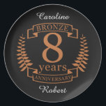 """Bronze eighth wedding anniversary 8 years plate<br><div class=""""desc"""">A design to celebrate 8 years of marriage. This design has a tan (bronze) colored laurel design on a black background. Bronze is the traditional gift for this occasion, USA. The text reads BRONZE 8 years anniversary. A romantic design to celebrate your 8th year of marriage. If you would like...</div>"""