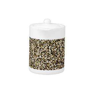 Bronze Faux Glitter Teapot