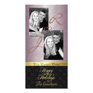 Bronze Foil Lace Holiday Gold Ribbon Photo Card
