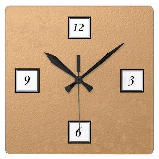 Bronze Foil Printed Square Wall Clock