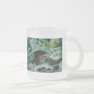 Bronze Frog in Prayer Plant Frosted Glass Coffee Mug