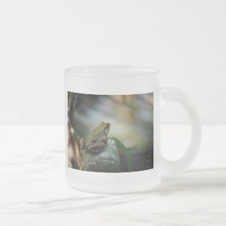 Bronze Frog on Froggy Frosted Glass Coffee Mug