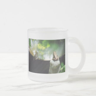 Bronze Frog Pair Reflect Frosted Glass Coffee Mug