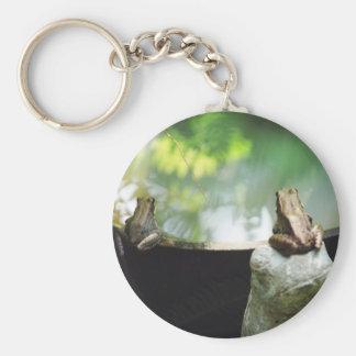 Bronze Frog Pair Reflect Basic Round Button Keychain