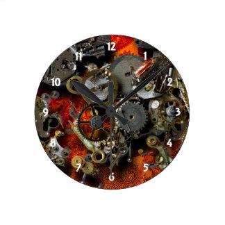 Bronze Gears Round Clock