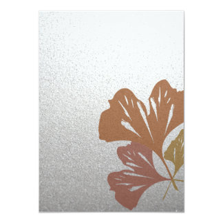 Bronze Ginkgo Leaves on Silver Effect Pattern 4.5x6.25 Paper Invitation Card