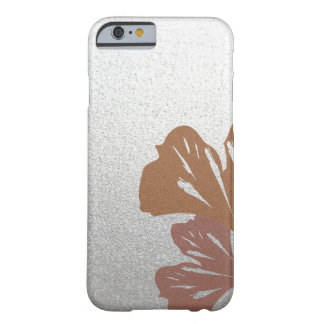 Bronze Ginkgo Leaves on Silver Effect Pattern Barely There iPhone 6 Case