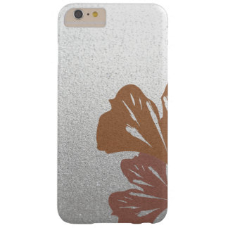 Bronze Ginkgo Leaves on Silver Effect Pattern Barely There iPhone 6 Plus Case
