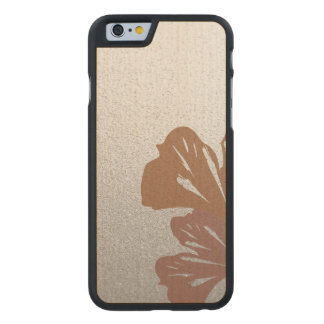 Bronze Ginkgo Leaves on Silver Effect Pattern Carved Maple iPhone 6 Case