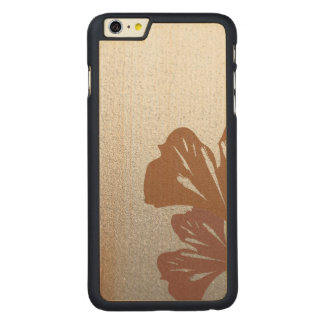 Bronze Ginkgo Leaves on Silver Effect Pattern Carved Maple iPhone 6 Plus Case