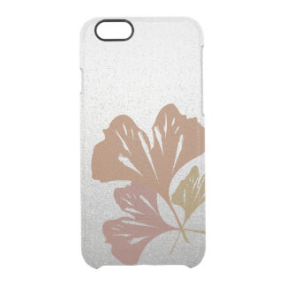 Bronze Ginkgo Leaves on Silver Effect Pattern Clear iPhone 6/6S Case